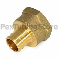 "1/2"" PEX x 1/2"" Female NPT Threaded Adapter - Brass Crimp Fitting"