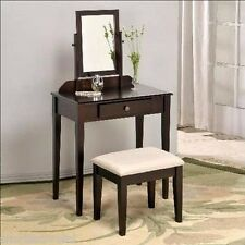 Wood Contemporary Iris Vanity Makeup Tilt Mirror Table Dreser Drawer Stool Bench