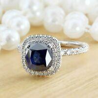 5ct Cushion Cut Sapphire Dual Diamond Halo Engagement Ring 14k White Gold Finish