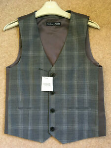 NEXT Boys Grey Check Waistcoat, Age 8 Years Height 128cm, Wool Blend, Brand NEW