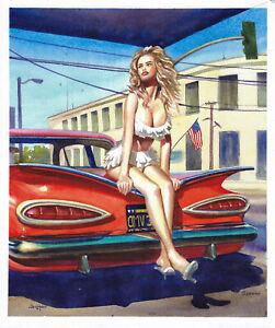 original painting 25 x 30 cm 588ShA art realism Watercolor woman and red car