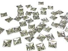 50 pièces 12 mm RÉSINE à coudre FACETTES Transparent carré strass
