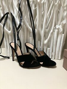 Gianvito Rossi Crissy Black Suede Lace Up High Heels Size 38 New With Box