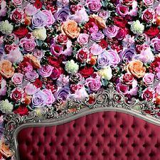Papel Pintado Floral De Rosas-Muriva J97010-Rojo y Rosa Flores Nuevo