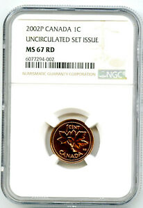 2002 P CANADA CENT NGC MS67 RD UNCIRCULATED SET ISSUE COIN POP=5 RARE