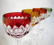 4 Verres à Vin sur Pied en Cristal Couleur Hofbauer Bleikristall Roemer
