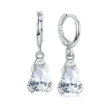 Lady Fashion Silver Plated Hoop Cubic Zirconia Frog Crystal Drop/Dangle Earrings