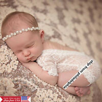 Newborn Baby Girl Clothes Lace Floral Romper Backless Bodysuit Photo Prop Outfit