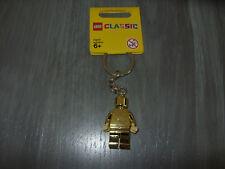 Lego NEW #852688 Gold Minifig Keychain / Keyring (Chrome Gold)