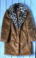 Topshop Boutique Faux Fur Leopard Collar Retro 60s Boyfriend Coat 6 / 8 - B65