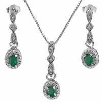 Set Cassidy, Anhänger/Ohrstecker, 925er Silber, 0,626 Kt. echter Smaragd/Diamant