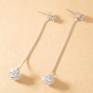 Hot Women Fashion Long Zircon Tassel Silver Dangle Drop Earrings Jewelry Gifts