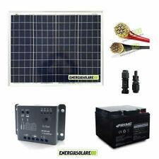 Kit solar fotovoltaico 50W 12V placa solar batería AGM 24Ah cables PVC 4mmq