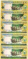 LOT Rwanda, 5 x 100 Francs, 2003, Pick 29 (29b) UNC
