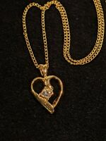Vintage Gold Tone Crystal Open Heart Pendant Necklace 11365
