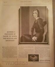 1930 Modess feminine hygiene sanitary napkins art deco woman ad