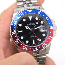 Parnis Men's Wristwatch 40mm Stainless Steel Case Red GMT Watch Luminous Marker