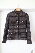 Zara chaqueta tweed Grey Navy Sparkle Jacket BLAZER chaqueta tweed bouclé aso-XS