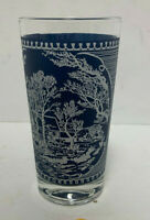 "Currier And Ives Blue & White Drinking Glass - 5 1/8"" tall"