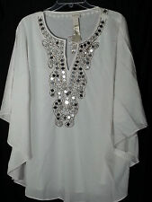Chicos Embellished V-neck White Poncho Top Large L Extra Large XL 14 16 18 NWT
