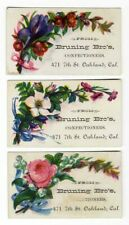 Oakland CA BRUNING BROS Candy Store CONFECTIONERS 3 Victorian Trade Cards 1880's