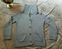 Ann Taylor Loft Gray Cardigan Cable Knit Sweater Casual Womens Sz M
