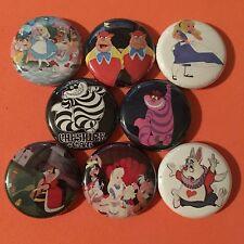 """ALICE IN WONDERLAND 1"""" buttons badges MAD HATTER DISNEY"""