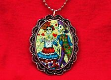 SUGAR SKULL COUPLE DAY OF THE DEAD HEART TATTOO NECKLACE
