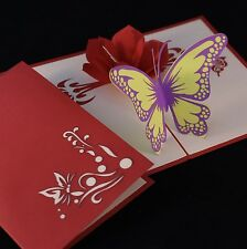 POP UP 3D card - flower & butterfly (birthday, blank, Mother's Day)