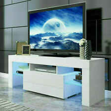 White Modern White TV Unit Stand Cabinet 1 Drawer High Gloss Doors Matt Body LED