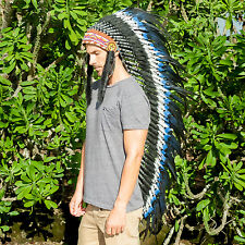 Extra Long Native American Indian style Headdress - DOUBLE FEATHER Blue