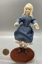 Dollhouse Miniature 1:12 Artisan 5 Inch Victorian Doll Detailed Blue Silk Dress.