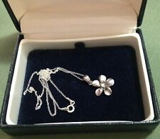 STAMPED STERLING SILVER VINTAGE NECKLACE - FLOWER PENDANT w DIAMANTE - ITALY