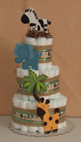 3 Tier Diaper Cake Zoo Jungle Safari Funfari Baby Shower Centerpiece Carters