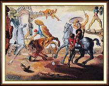 Salvador Dali Large Jacquard Woven Tapestry Signed Battle Around Dandelion Art