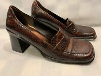 ENZO ANGIOLINI Brown Black Snake Skin Square Toe Heels Women's Shoes Size 7.5 N