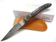 Couteau Damas Lame 128 Couches Façon Laguiole Manche Corne de Bélier Etui DM1086