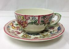"GIEN ""JARDIN IMAGINAIRE"" TEACUP & SAUCER STONEWARE FRENCH FAIENCE NEW"
