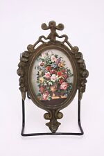 Cast Metal Italy Picture Floral Print Mini Small iFrame Wall Roses Brass Tone