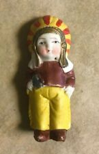 "Antique 1930's Bisque Indian Boy Chief - 3"" - Japan - Mint Condition!"