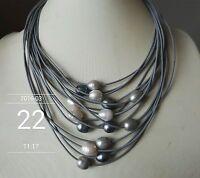 15 Stränge grau Leder Seil & 11-13mm weiß und grau Perlenkette , 17-20 Zoll