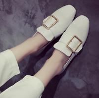 Womens Slip On Retro Korean White Loafers Flats Shoes Square Toe Fashion Oxfords