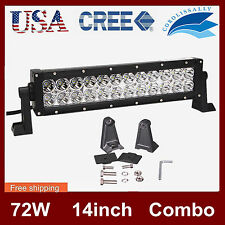 14inch 72W Cree Led Work Light Bar Flood Spot ATV Driving Lamp Offroad 4WD Truck