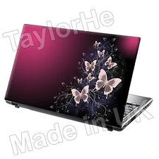 Laptop piel cubierta Notebook pegatina púrpura de mariposas