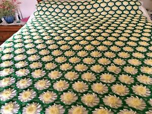 """Hand Made Crochet Green with White and Yellow Daisy's  Afghan Blanket 58"""" X 72"""""""