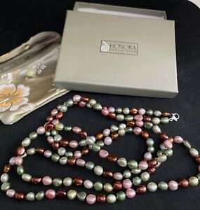 """NIB HONORA Long Genuine Cultured Multi Color Freshwater Pearl Necklace 52"""""""