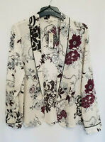 River Island White Floral Print Lightweight Blazer Top Size 10-18