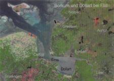 Borkum und Dollart bei Ebbe und Flut, Ems Dollart, Emden, Map Aurich 3D lenticul