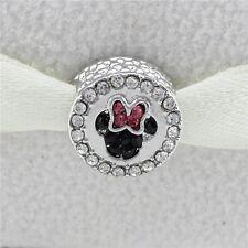 Minnie Mouse Bow Disney Charm - Silver Tone - Suits Pandora Charm Bracelet