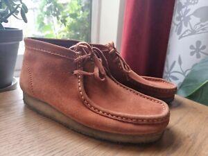 Clarks Wallabee Boots Uk 9 Burnt Orange/Rust